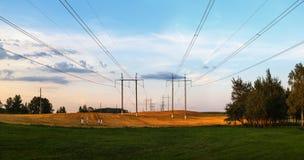 Piliers électriques dans un domaine Photos stock