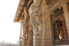 Piliers de créature mythique de Yali d'éléphant de Gaja de temple de Hampi Vittala Image stock