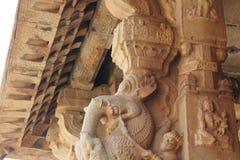 Piliers de créature mythique de Yali d'éléphant de Gaja de temple de Hampi Vittala Photo stock