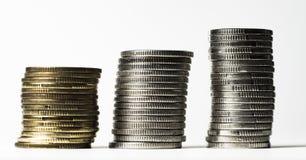 Piliers des pièces de monnaie photographie stock