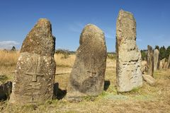 Piliers mégalithiques mystérieux de Tiya, site de patrimoine mondial de l'UNESCO, Ethiopie Images libres de droits
