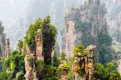 Piliers naturels de grès de quartz des montagnes de Tianzi photo stock