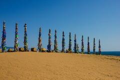 Piliers rituels antiques sur le lac Baïkal images libres de droits