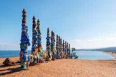 Piliers rituels de chaman sur l'île d'Olkhon photos libres de droits