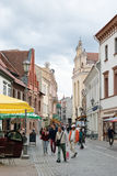 Pilies street are narrow street in Vilnius, Lithuania Stock Photo