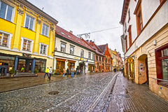 Pilies Street in the Old Town of Vilnius in Lithuania at Christmas Stock Photos