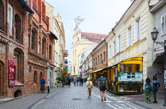 Pilies Street in Old Town, Vilnius Stock Images