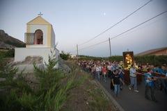 Piligrimage bij dageraad aan Madonna Royalty-vrije Stock Fotografie