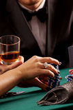 Piling casino chips Royalty Free Stock Photos