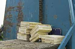Piling wood blocks Stock Photos