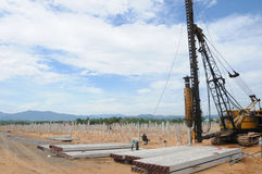 Piling Works. At site with hydraulic hammer Stock Photo