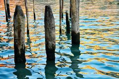 Pilings in Water Stock Photos