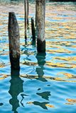 Pilings in Water Stock Photo