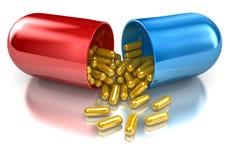 Pill. With golden s inside Stock Photos