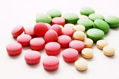 Pill. A lot of colorful pills royalty free stock images
