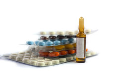 Pill and ampule Royalty Free Stock Image