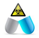 Pill and bio hazard symbol illustration design Stock Image