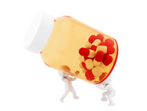 Pill bottle. Render of 2 man lifting big pill bottle, isolated on white Royalty Free Stock Photos