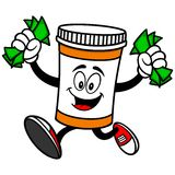 Pill Bottle with Money Stock Image