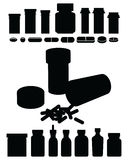 Pill Bottle-Perscription Drug Silhouettes Royalty Free Stock Image
