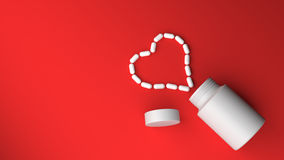 Pill bottle on red background Royalty Free Stock Photography