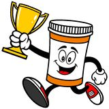 Pill Bottle Running with Trophy Stock Photography