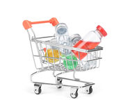 Pill bottle in shopping cart trolley.  Royalty Free Stock Photography