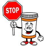Pill Bottle with Stop Sign Stock Image