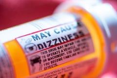 Pill bottle warnings stock photo