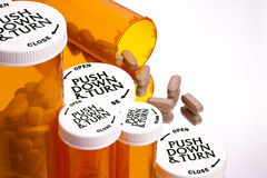Pill Bottles with Pills Royalty Free Stock Image