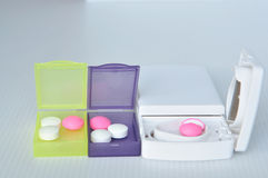 Pill box and split blade Royalty Free Stock Image