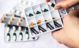 Daily pill box royalty free stock photography