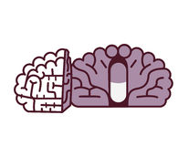 Pill in brain illustration.Placebo concept. Placebo pill conceptual vector illustration Royalty Free Stock Images