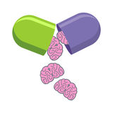 Pill with brains. Tablet for mind. Medical drug to increase IQ. Royalty Free Stock Photo
