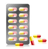 Pill capsule in blister pack Royalty Free Stock Photos