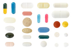 Pill and capsule collection Royalty Free Stock Photo