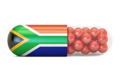 Pill capsule with South Africa flag, 3D rendering Royalty Free Stock Photography