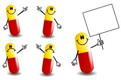 Pill Capsules Cartoon Characters Royalty Free Stock Photos