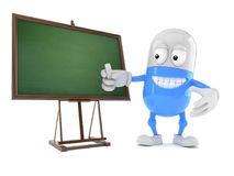 Pill character with blank blackboard stock illustration