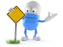 Pill character with blank road sign. Isolated on white background. 3d illustration Stock Image