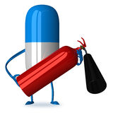 Pill character with fire extinguisher. White and blue pill character with fire extinguisher Stock Image