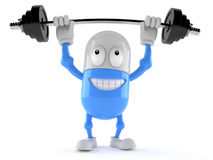 Pill character lifting heavy barbell Royalty Free Stock Photography