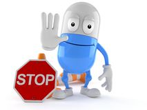 Pill character making stop gesture stock illustration