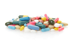 Pill and colorful medical capsules Stock Photo