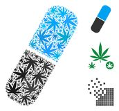 Pill Collage of Marijuana. Pill composition of weed leaves in variable sizes and color tones. Vector flat hemp leaves are grouped into pill mosaic. Drugs vector Stock Photo