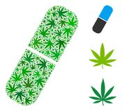 Pill Collage of Cannabis. Pill composition of weed leaves in variable sizes and green tinges. Vector flat grass leaves are united into pill composition. Herbal Stock Photos