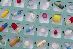 Pill container weekly pillbox Stock Photos