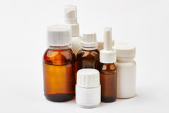 Pill containers and brown bottles. Stock Photo