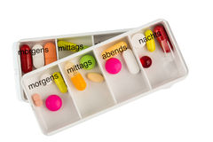 The pill dispenser and tablets Royalty Free Stock Image