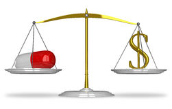 Pill and dollar sign on scales Royalty Free Stock Photo